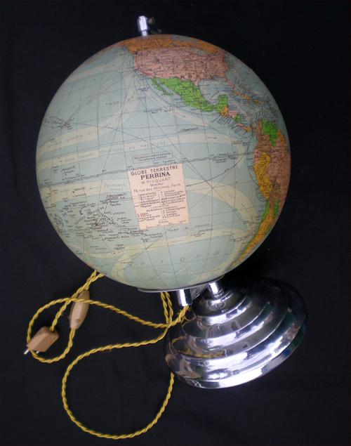 globe terrestre de bureau lumineux ancien perrina paris picquart directeur. Black Bedroom Furniture Sets. Home Design Ideas