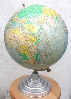 Beau globe terrestre ancien cartographie de j forest - Globe terrestre en carton ...